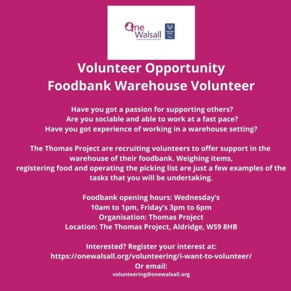 JPEG Volunteer Opportunity Foodbank Warehouse Volunteer