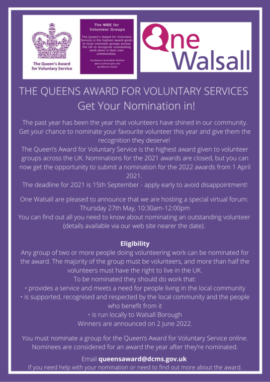 The Queens Voluntary Service Awards Walsall Forum @ Zoom - Virtual Event