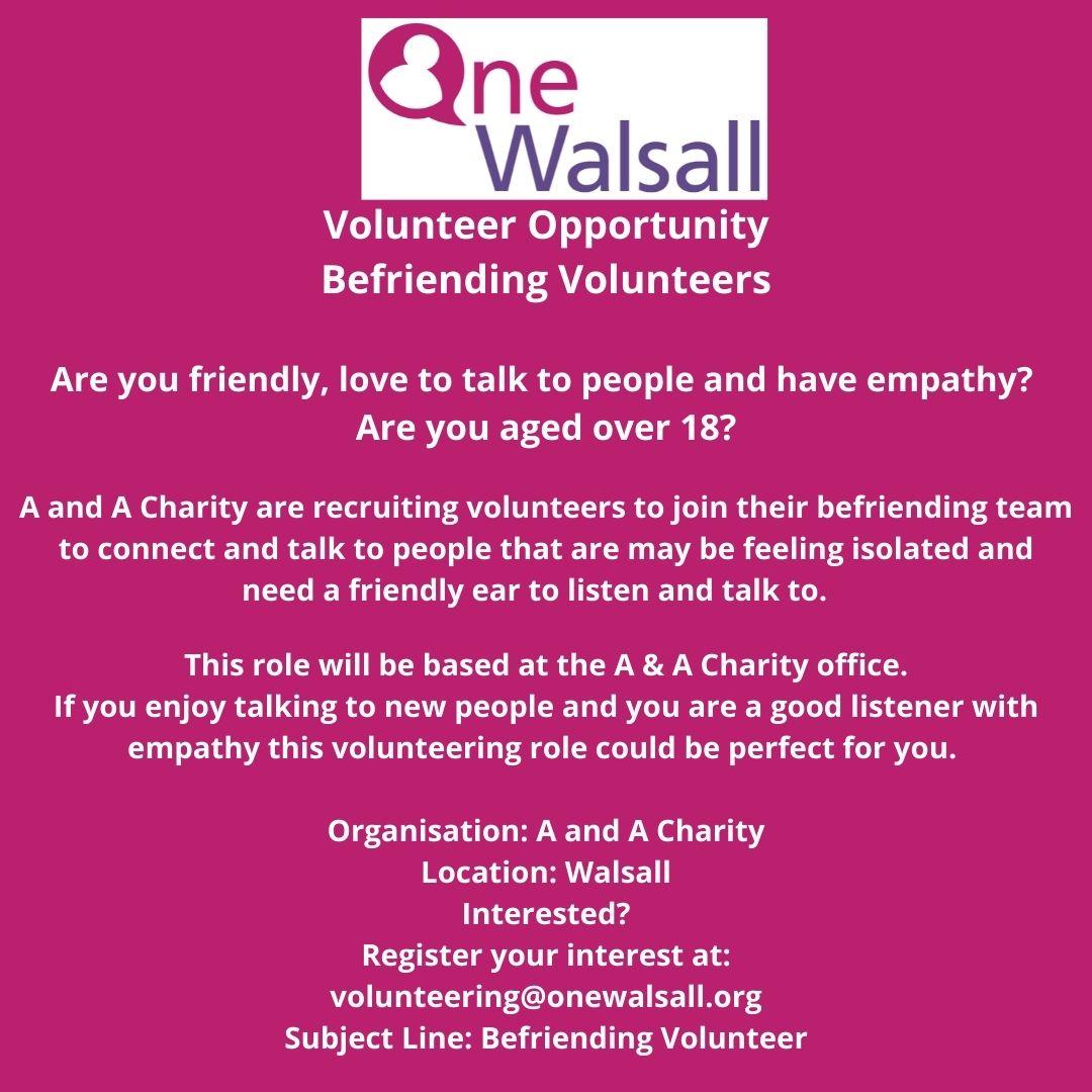 Befriending Volunteer opportunity