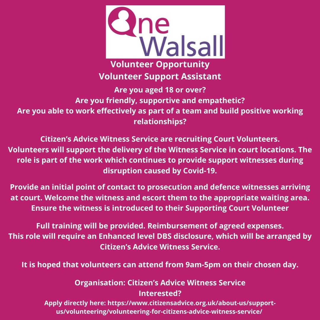 court support assistant volunteer opportunity