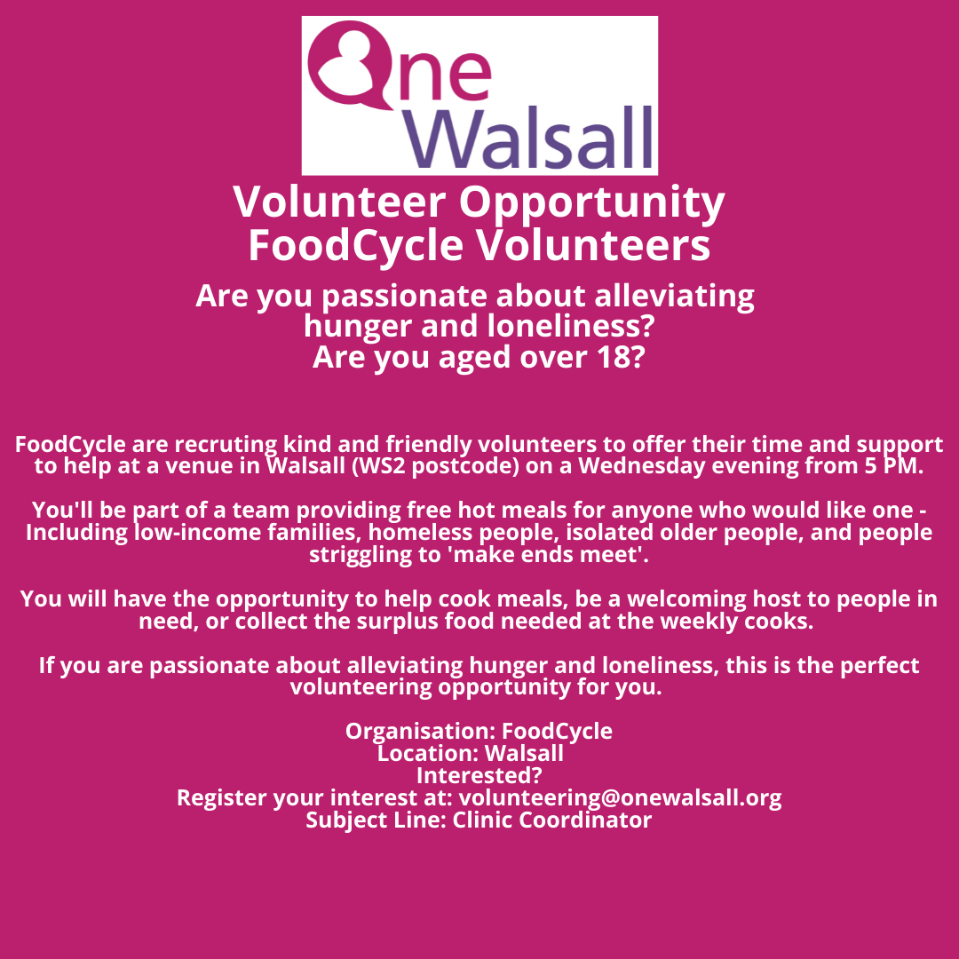 Walsall Volunteer opportunity FoodCycle