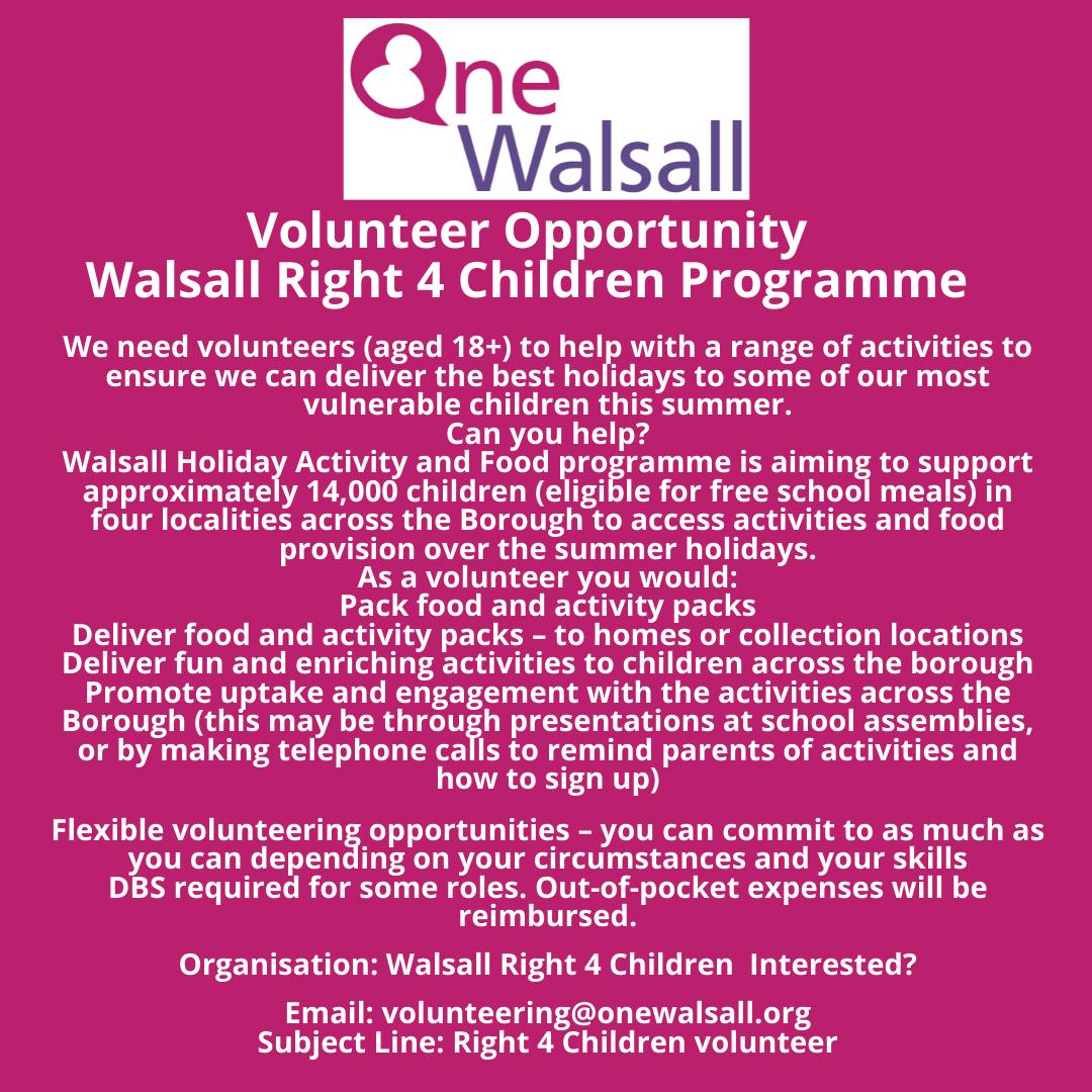 Walsall right 4 children Volunteer opportunity (1)