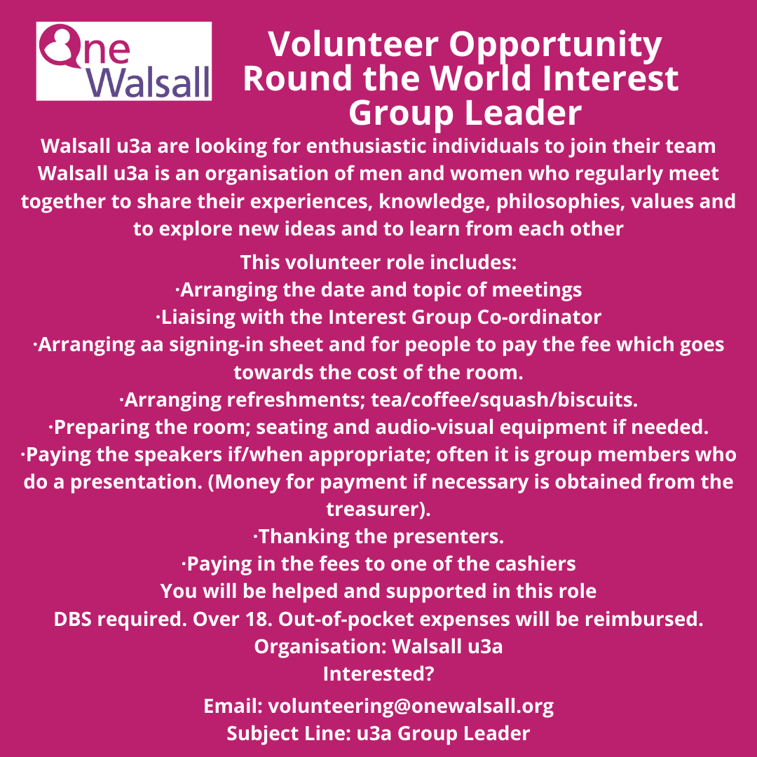 U3A Round the work interest volunteer